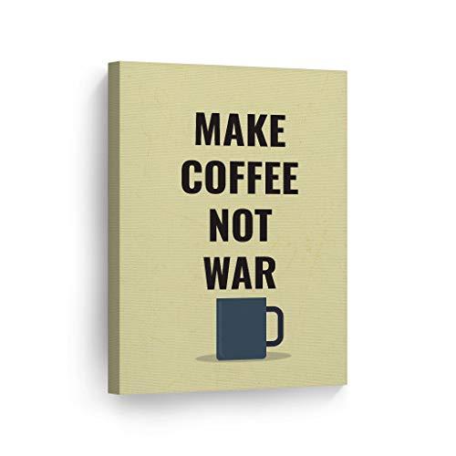 Unframe Canvas Printing Wall Art Make Coffee Not War Vintage Blue Mug...