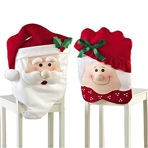 Kaxich 2 Stück Weihnachten Stuhlhussen Mr and Mrs Santa Claus Stuhlabdeckung Weihnachtsdeko Party Deko