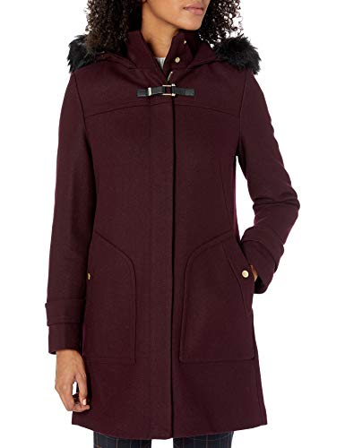 Cole Haan Women's Wool Duffle Coat with Faux Fur Trimmed Hood, Bordeaux, 10