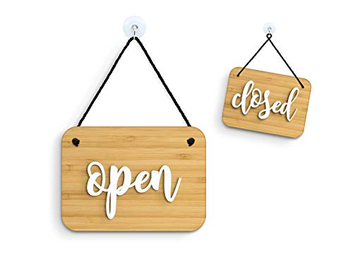 3DP Signs - Bambù Brush Rectangular Inglés - Open/Closed - Cartel Doble Cara Signo OC04 - Placa de la Puerta Colgante de Doble Cara - Letrero de la Tienda Comercial Reversible
