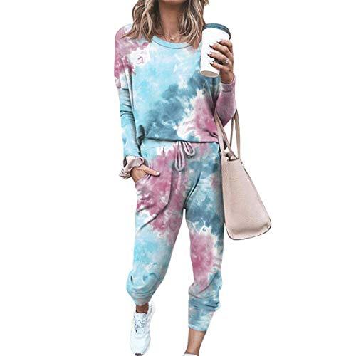 Tomwell Damen Langarm Trainingsanzüge Sweatshirt Lange Hose Sportswear 2 Stück Set Streetwear Tie Dye Freizeitanzug Yoga Outfit Z1 Blau 40