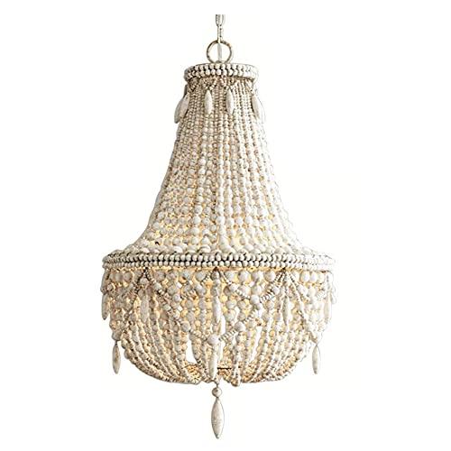 Lámpara de araña Tian de madera maciza de hierro forjado personalizado personalizado antiguo invitado restaurante princesa habitación decoración lámpara blanco