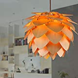 Pendant Lamp E27 AC85-265V Pine Cone Shaped Ceiling Lights Sample DIY Lamp Shade Solid Wood Craft Light Fixture for Home Study Cafe Bar Hallway Decor Gift