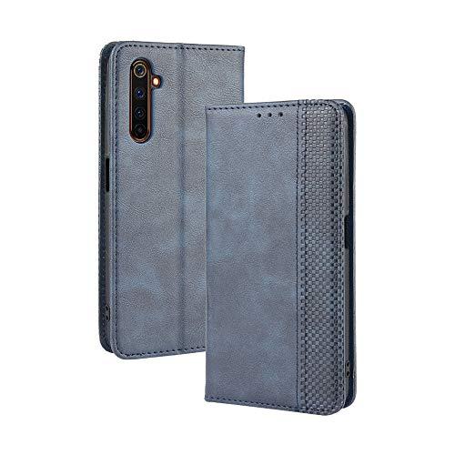 LAGUI Kompatible für Realme X50 Pro 5G Hülle, Leder Flip Hülle Schutzhülle für Handy mit Kartenfach Stand & Magnet Funktion als Brieftasche, Blau