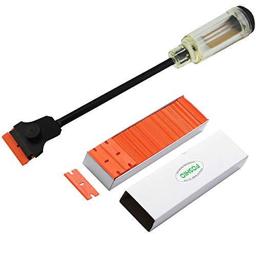 FOSHIO 1PCS Automotive Razor Scraper Car Tint Vinyl Tool Application with 12 Long Handle 100pcs Plastic Razor Blade