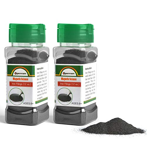 SPACECARE Magnetic Iron Powder Filings for Magnet Education and School Projects, 2 Storages Jar (12 Ounces X 2) with Shaker Lids, 2 Pack