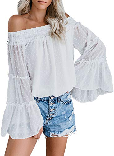 Asvivid Womens Swiss Polka Printed Smocked Off The Shoulder Tops Summer Bell Sleeve Chiffon Blouses T-Shirt L White