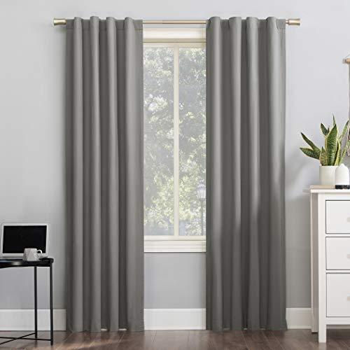 "Sun Zero Cyrus Thermal 100% Blackout Back Tab Curtain Panel, 40"" x 84"", Gray"