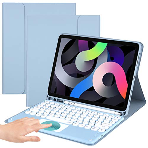 Funda de teclado inalámbrico para iPad 8.ª generación 2020, iPad 10.9 funda con teclado – Funda folio con almohadilla Trackpad y soporte para lápiz