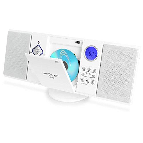 oneConcept V-12-BT - Minicadena estéreo, Reproductor de CD y MP3, Radio FM/Am, Conexión USB, Ranura SD, Entrada AUX, Mando a Distancia, Pantalla LCD, Despertador, Reloj, Montaje en Pared, Blanco