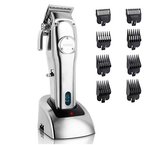 AUDOC Professional Cordless Hair Clipper for Men Hair Beard Trimmer Quiet Home Barber Hair Cutter Grooming Kit Machine Metal Housing Low Noise for Kids with 8pcs Hair Guide Combs
