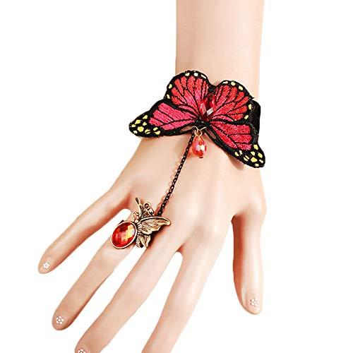 Meigold 1PCS Bracelet rétro en Dentelle pour Femme Motif Papillon et Dentelle avec Doigt Bracelet Bijoux Accessoire de Mariage 13+7cm Rouge