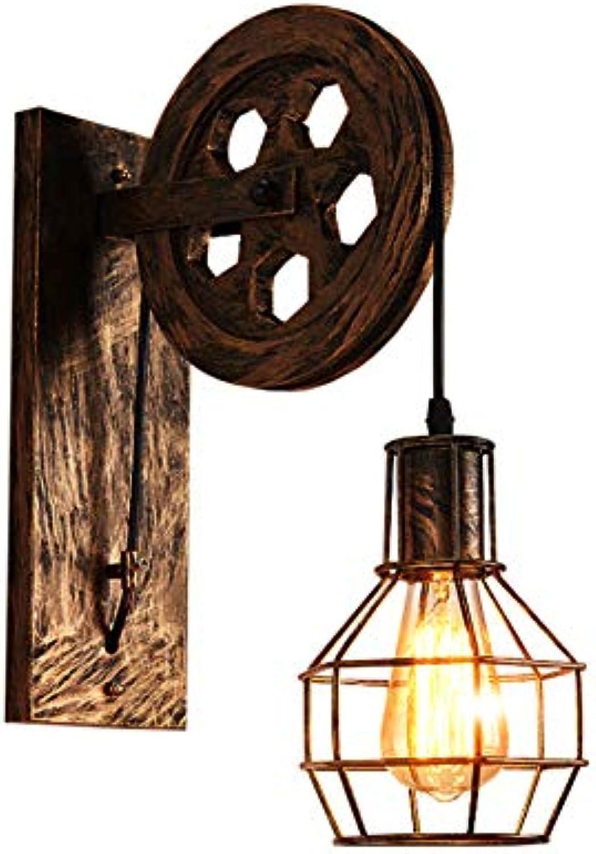 CHNG Wandleuchte Vintage Wandlampe Retro Wandbeleuchtung Industrial, Kreative Loft-Stil Heben Riemenscheibe Lights Aisle Korridor wandlampe E27,Bronze