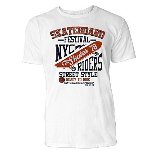 Heren T-shirt skateboard festival (wit) vrije tijd/sport/club T-shirt Crew Neck NOOS Original