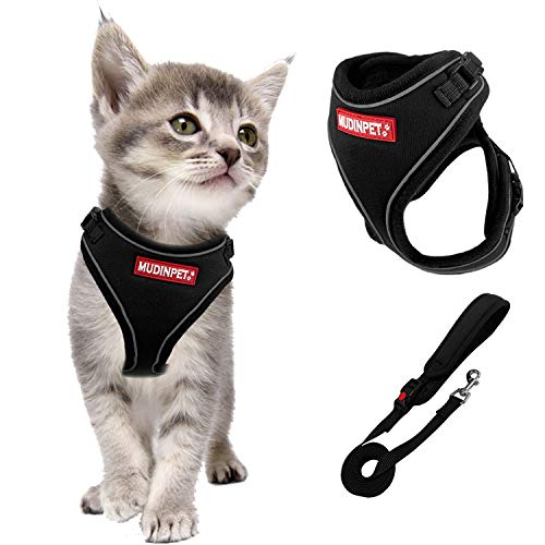 Mudinpet Cat Harness and Leash for Walking Escape Proof, Small Animal Harness Vest with Leash Set, Reflective Adventure Kitten Puppy Vest for Small Medium Large Cat with 4.5ft Cat Leash Lead