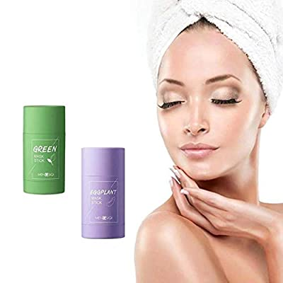 2PCS Green Tea Purifying Clay Stick Mask Oil Control Anti-Acne Eggplant Solid Fine by MONOO