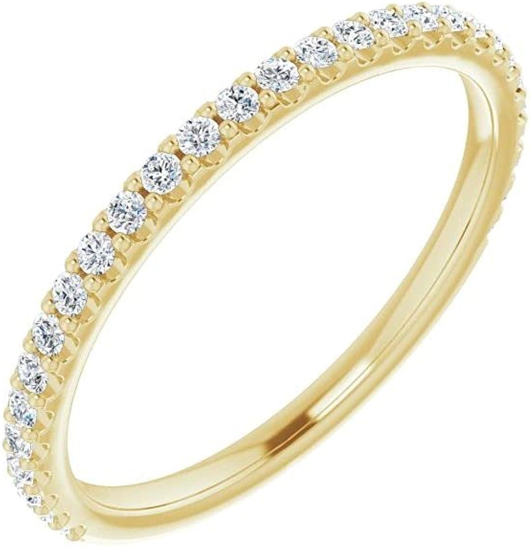 14K Yellow Gold 1/4 CTW Diamond Anniversary Wedding Band Ring Size 7 for Women