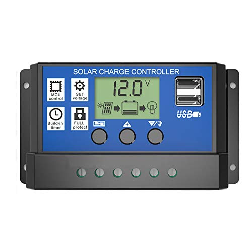 LCD 20 / 30A 12V / 24V Solar Panel Controller Regler laden Batterie Schutz Intelligent, USB Port, LCD Display Überlastschutz (Size : 30A)