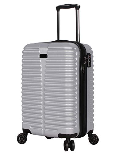 Ciao 20 Inch Carry On with Built-in TSA Lock - Scratch Resistant 100% Polycarbonate Suitcase - Lightweight Expandable Luggage With 8-Rolling Spinner Wheels (Silver With TSA Lock)
