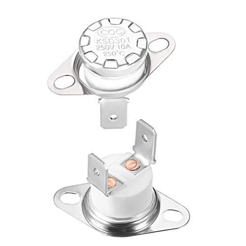 Termostato DyniLao KSD301 250 ° C / 482 ° F 10A normalmente cerrado NC Ajuste el interruptor de temperatura del disco a presión 2 uds