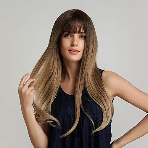 Long Brown Wigs with Bangs Luckyfine Long Straight Synthetic Wig, Brown Tawny Ombre Natural Looking Wigs Cosplay Party Halloween Cosplay Costume Wig for Women Girls Dress Dating-22''