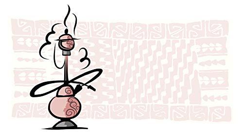 Wandtattoo Orient Wandsticker Dampfende Shisha vor einem Orient Teppich in rosa