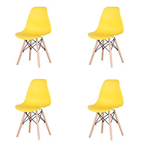 GrandCA Set di 4 sedie da Pranzo retrò Sedile in plastica con Gambe in Legno massello per Sala da Pranzo Soggiorno Cucina Camera da Letto (Giallo)