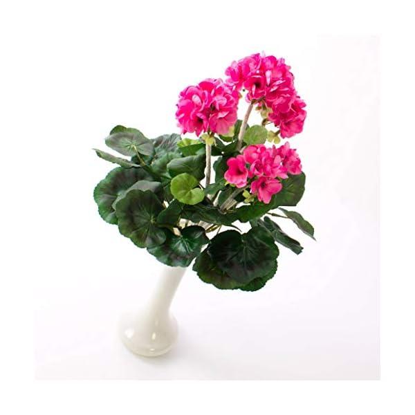 artplants.de Decorativo Geranio MIEKE en Vara, Rosa, 30cm, Ø 25cm – Planta Artificial – Flor sintética