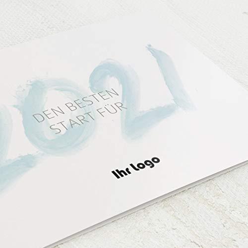 sendmoments Firmen-Weihnachtskarten im Set, personalisiert mit Ihrem Firmenlogo & -Text, Neujahrswünsche, 12 Klappkarten, wahlweise mit Veredelung in Gold, optional Design-Umschläge