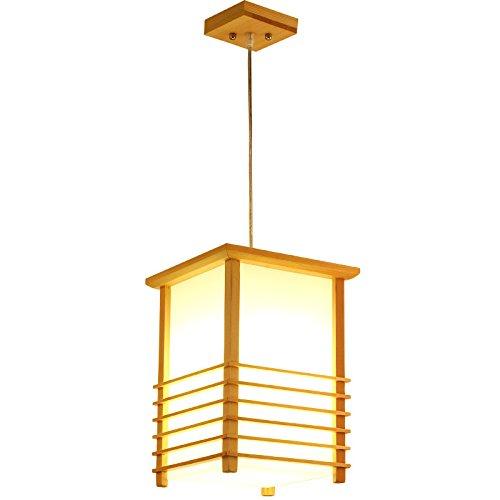 GQLB Madera maciza araña tatami japonés cocinar sushi shop candelabros y las luces de la habitación Restaurante candelabro de madera color 22 * 22 * ????30CM, luz cálida
