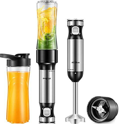Kealive Smart Variable Speed Immersion Hand Blender High-Torque Personal Portable Blender, Smoothie Blender for Shakes and Smoothies with 20 oz Tritan Sport Bottle, Child Safety Lock Design, Silver