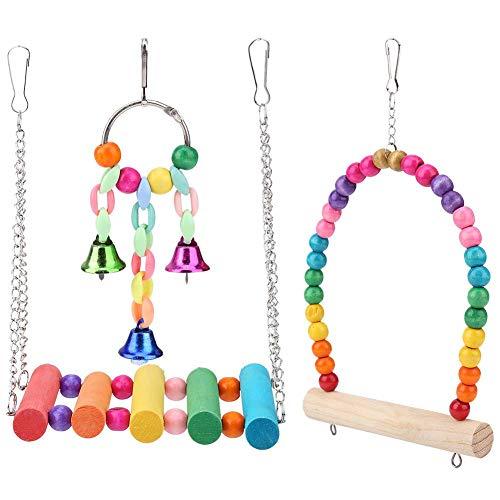 Papegaai houten kauwschommel, hangende belstandaard kooi speelgoed willekeurige kleur 3 stuks vogelaccessoires