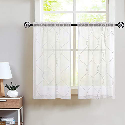 Vangao Tier Curtains White Embroidered Set with Valance Moroccan Trellis Pattern for Kitchen Bathroom,24 inches,White,Set Total 3 Pcs