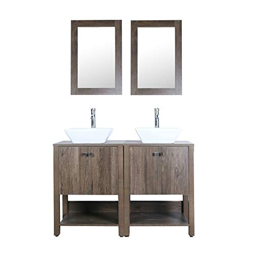 Brown 48' Bathroom Vanity Double Sink MDF Wood Cabinet w/Mirror Faucet and Drain