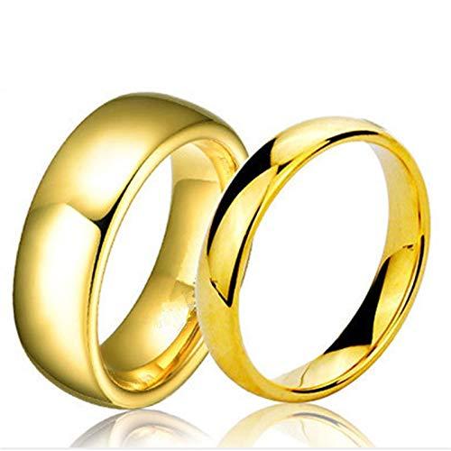 BQZB Ring Anillos de Oro Rosa Simples para Hombres, Mujeres Placa con...