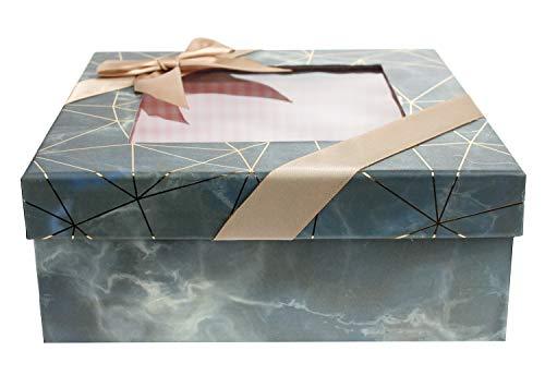 Emartbuy Caja de Regalo de Presentación Rígida Cuadrada, 17.5 cm x 17.5 cm x 6.5 cm, Efecto Mármol Azul/Gris Con Líneas Doradas Origami, Interior a Cuadros Rosa, Tapa Transparente y Cinta de Satén