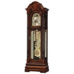 Howard Miller Andrako Floor Clock 547-056 – Windsor Cherry Grandfather Home Decor with Illuminated Case & Cable-Driven, Triple-Chime Movement
