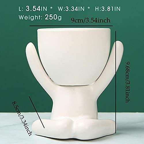 CPQN Pot de fleur en céramique créative nordique pour petites personnes decor de maison artisanat de bureau pour fenêtre-Q