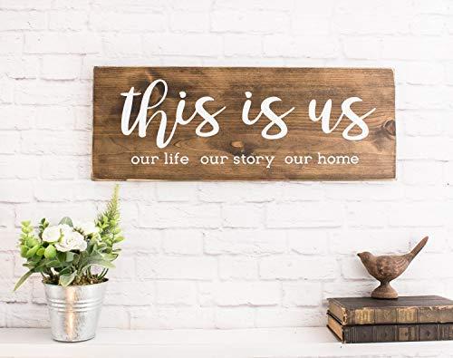 Brosfeson This is Us Holzschild mit Spruch – rustikales Bauernhaus Holzschild – Personalisierte Schilder für Zuhause