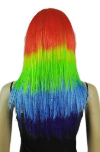 Qiyun Girl's Colorful Rainbow Rouge Gren Bleu Mixte Longue Raide Cosplay Costume Partie Complete Cheveux Perruque