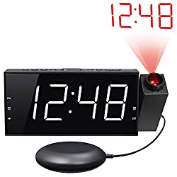 """Loud Vibrating Projection Alarm Clock for Heavy Sleepers, Deaf & Hard of Hearing, Pillow, Digital Bedroom Ceiling Clock with 12/24H, Large 7"""" LED Display & Dimmer, DST, USB Charger, Battery Backup"""