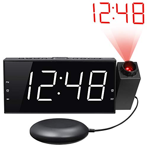 Loud Alarm Clock with Bed Shaker & Projector, Large LED Display & Dimmer, USB Charger, 12/24 H, Vibrating Projection Alarm Clock for Heavy Sleeper, Deaf, Hearing Impaired, Bedroom Wall Ceiling Pillow