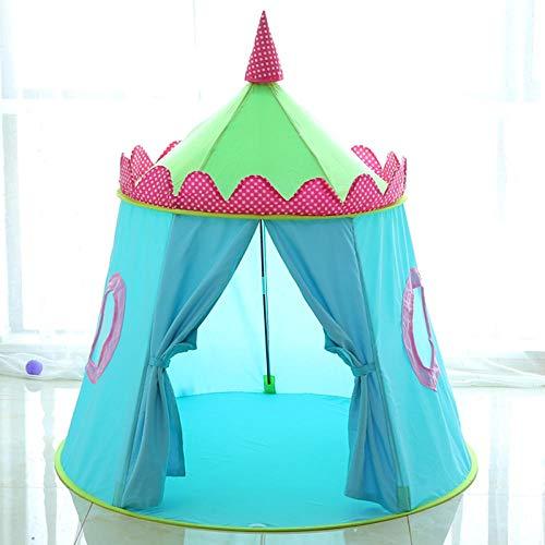 Barntält Inomhusflicka Play House Boy Toy Princess Room Baby Castle Home Yurt Gift-Blue Strawberry House (Color : Blue Strawberry House)