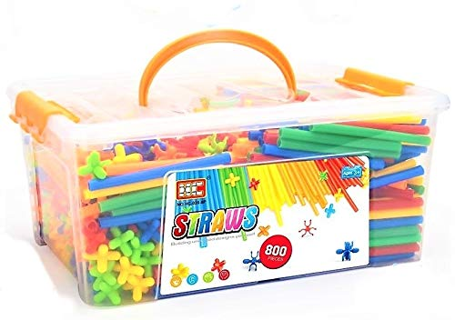 Ms.0 2021年 やわらかい ストローチューブ 式 創作 パズル 知育玩具 おもちゃ ブロック 積み木 ホース (800pcs)