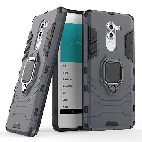 DESCHE für Honor 6X hülle, Ringhalterung hülle + Bildschirmschutz, kompatibel mit magnetischer Autohalterung (Außer Auto-Magnetrahmen) - Navy