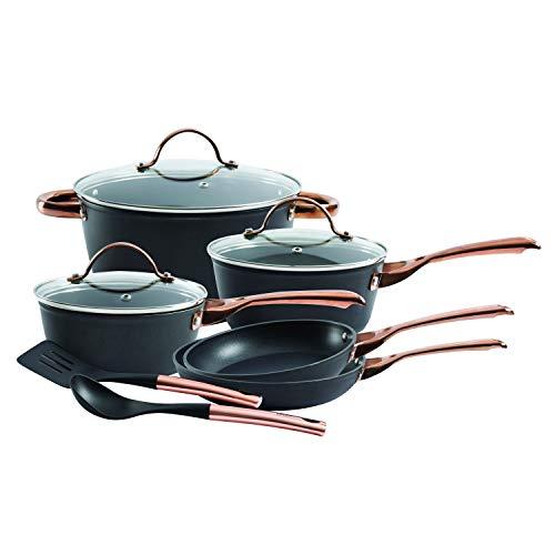 Oster 123869.10 Allsberg - Juego de utensilios de cocina de aluminio forjado, color negro mate, con base de inducción, asas inoxidables con revestimiento de cobre y tapas de vidrio templado, 10 piezas