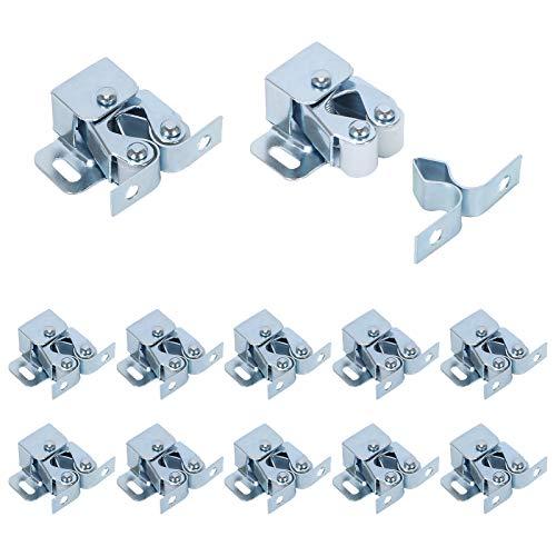 cierre interno de resorte de puerta con placa de golpe para gabinete//armario//puerta Paquete de 2 cierres de bola de cierre de bola de ajuste de acero inoxidable