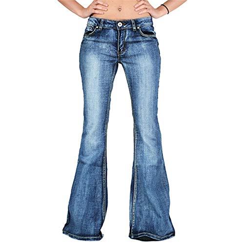 Womens Juniors 70s Trendy Slim Fit Flared Bell Bottom Denim Jean Pants Plus-Size Fashion Bellbottom Trousers (Medium,Navy Blue)