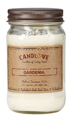 Candlove Gardenia Scented 16oz Mason Jar Candle 100% Soy Made in The USA
