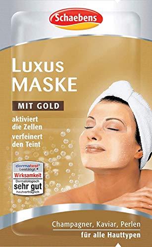 Schaebens Luxus Maske - mit Gold, Champagner, Kaviar und Perlen - (15 x 2 Einheiten. 5 mL je Einheit - Für 30 Anwendungen) - Für alle Hauttypen